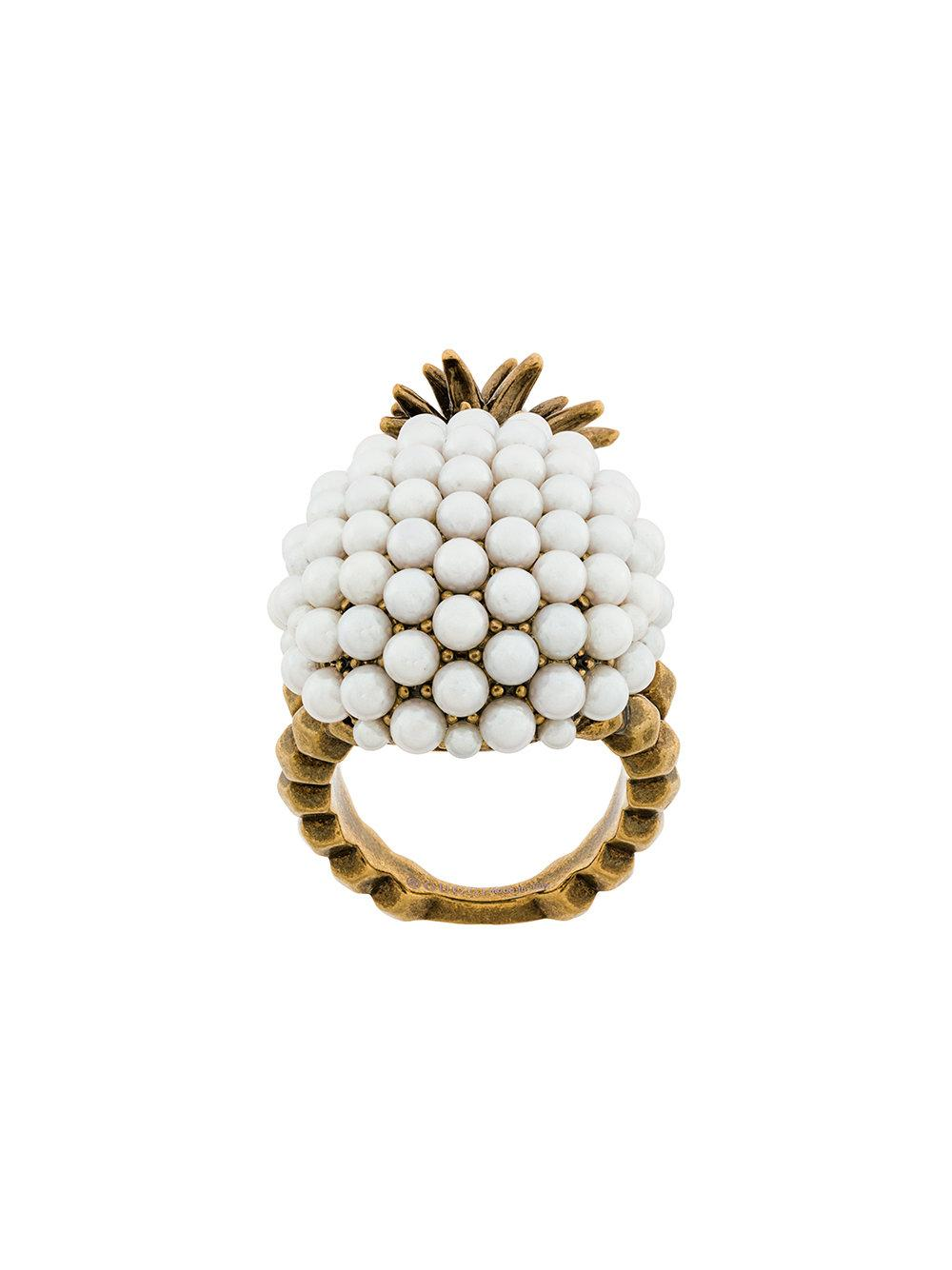 dd5bdeab0 Gucci Gold Small Pearl Pineapple Ring In Metallic | ModeSens