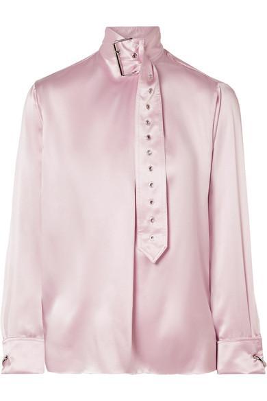 42055e2fb93f96 Marques  Almeida Marques Almeida Satin Buckle-Neck Blouse - Rosa In Baby  Pink
