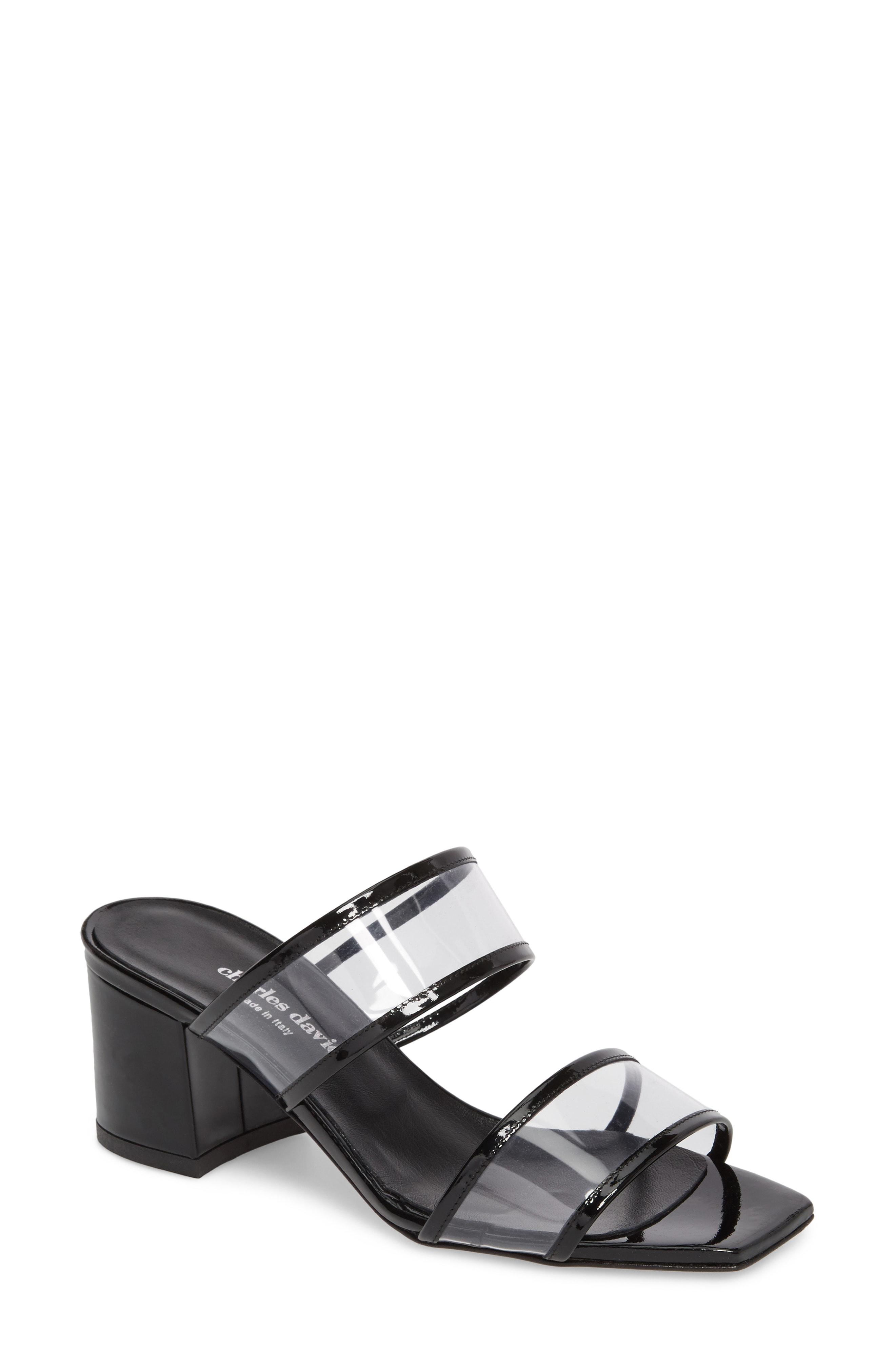 969ecd10a Charles David Women's Cally Patent Leather Illusion Block Heel Slide Sandals  In Black