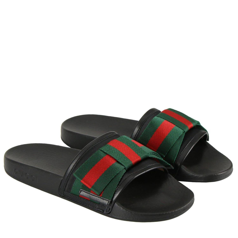 ce13bb8fa590 Gucci Women s Pursuit Satin Bow Pool Slide Sandals In Black