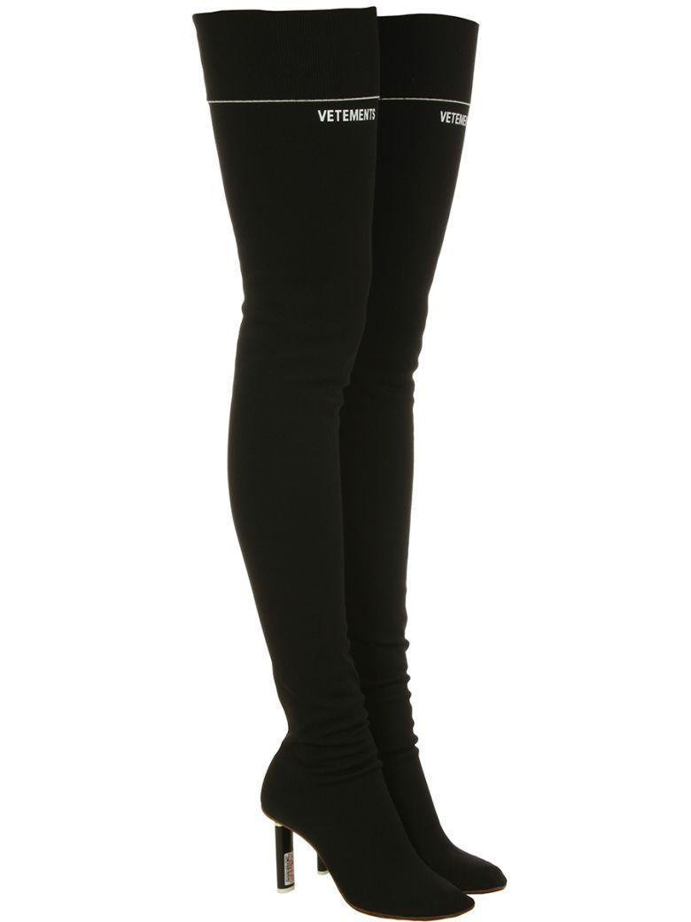 afb8c260e7 Vetements Lighter-Heel Sock Over-The-Knee Boots In Black | ModeSens