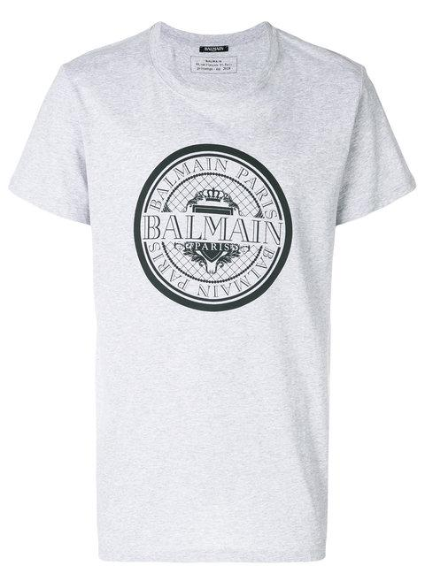 Balmain Slim Fit Coin Logo Cotton Jersey T-shirt In 172 Grey