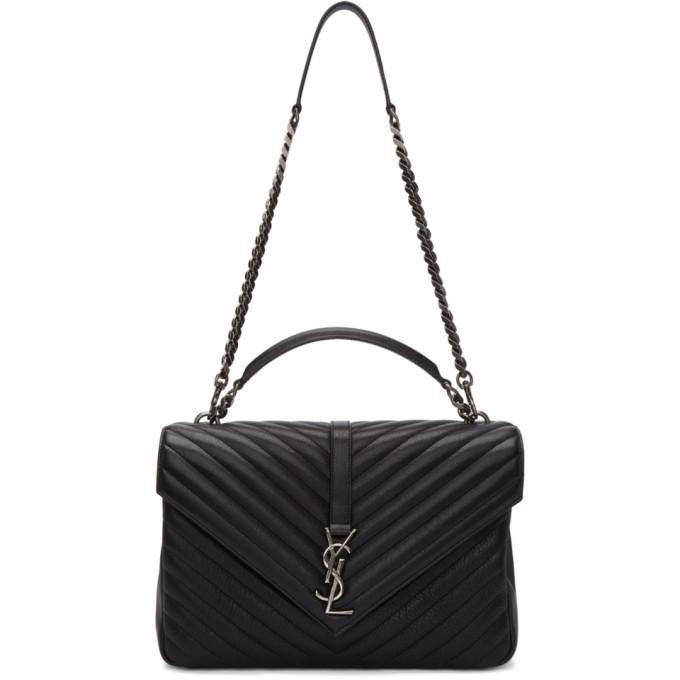 5d8416f339eb Saint Laurent CollÈGe Large Quilted-Leather Shoulder Bag In 1000 Black