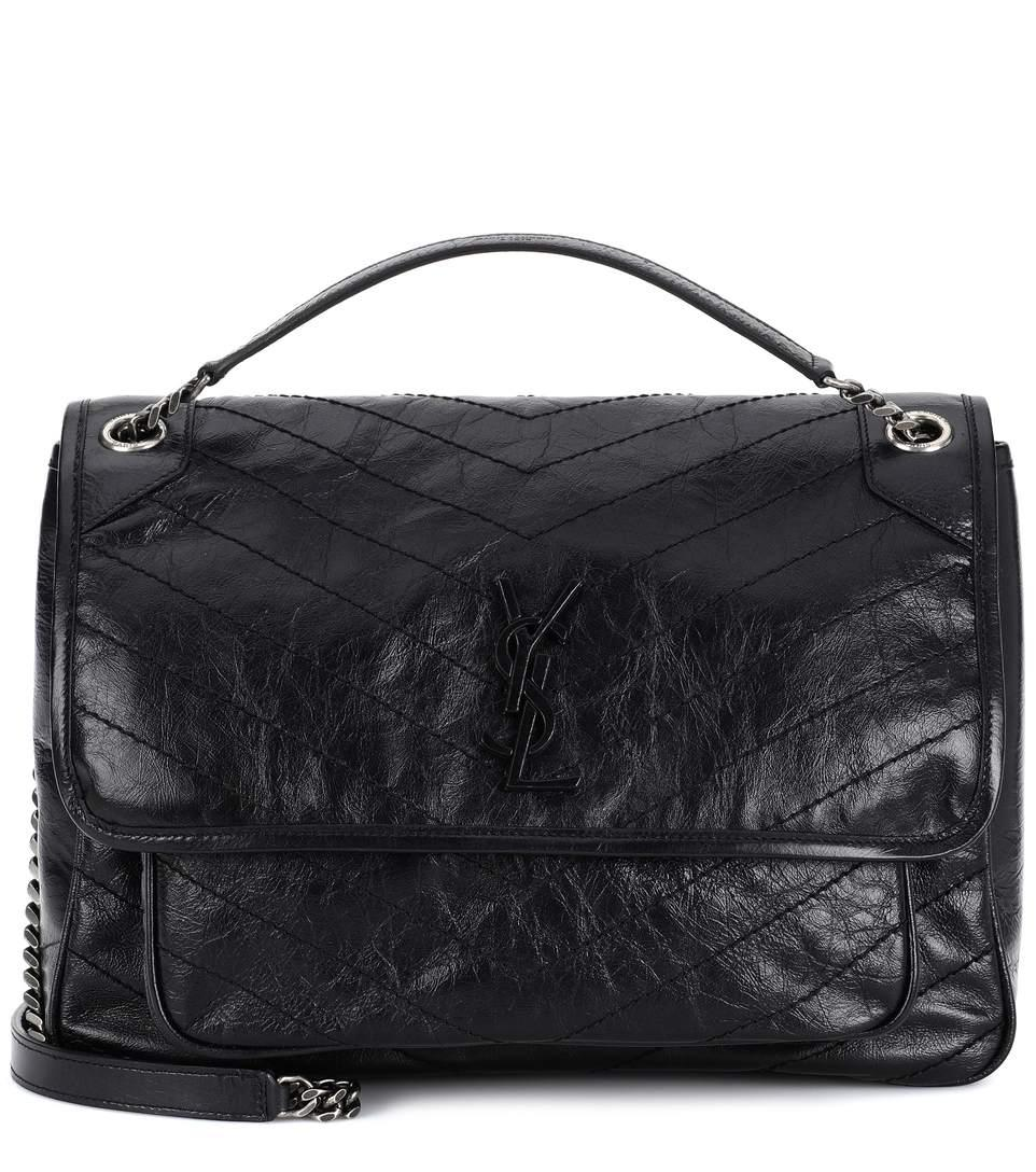 Saint Laurent Niki Medium Quilted Crinkled Glossed-Leather Shoulder Bag In  Navy 4a17bbe8b884b