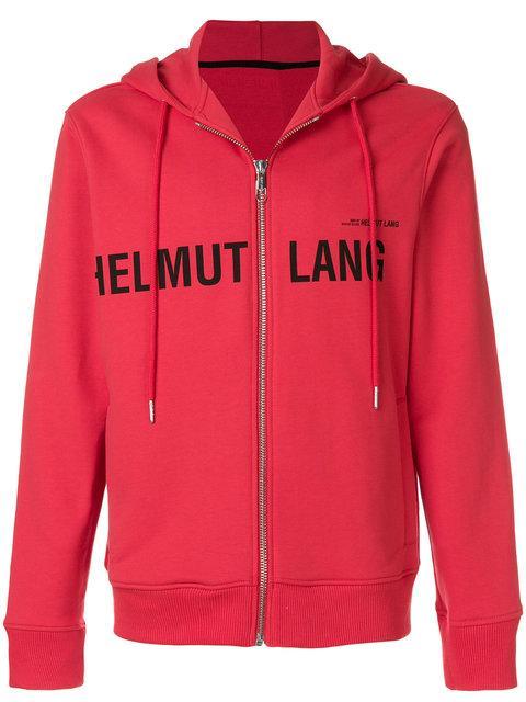 Helmut Lang Logo Hoodie In Red
