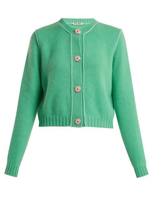 4dfdcb7ad6e3 Miu Miu Cropped Embellished Cashmere Cardigan In Green