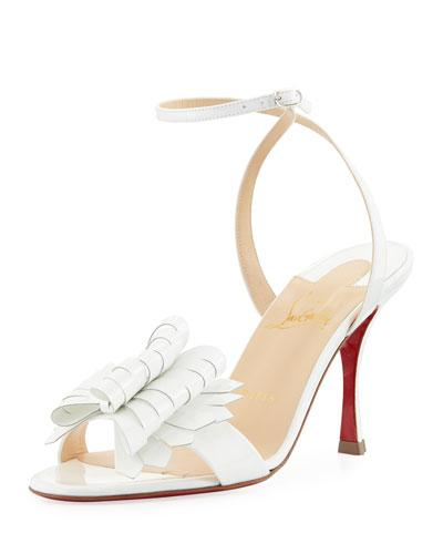 1c2f82a106d Christian Louboutin Miss Valois 85 Patent-Leather Sandals In White ...