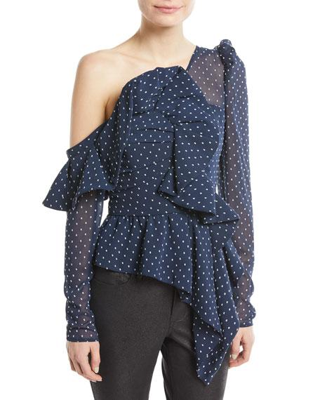 69810d2dc1495 ONE-SHOULDER DOTTED PLUMETIS FRILL TOP. Self-Portrait dotted plumetis top  with ruffled ...