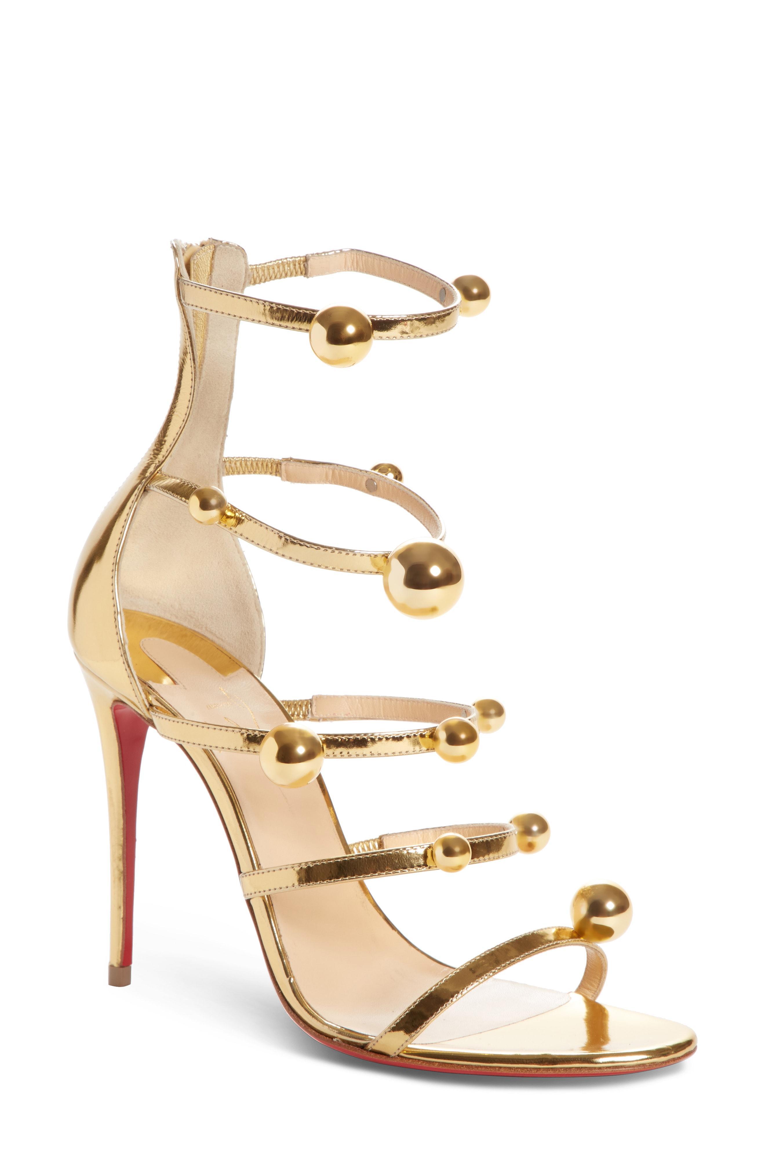 abfd24d2871a Christian Louboutin Atonana Specchio Ball Red Sole Sandal In Gold ...