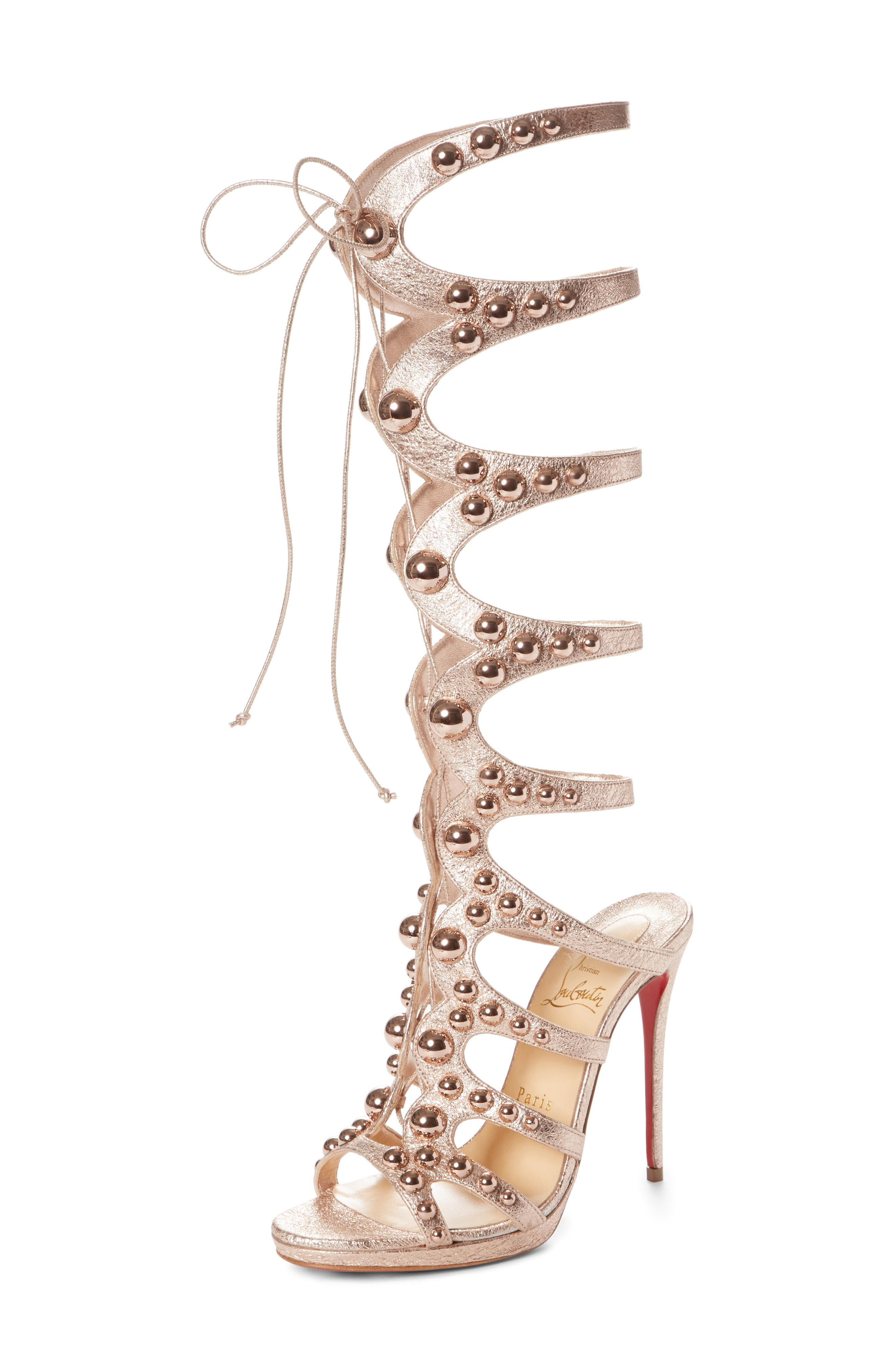407ceff3a9e8 Christian Louboutin Amazoutiful 120Mm Leather Gladiator Red Sole Sandal In  Rose