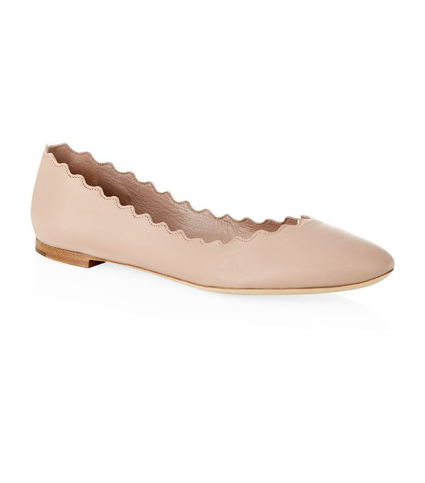 Chloé Lauren Scalloped Leather Ballet Flats In Pink