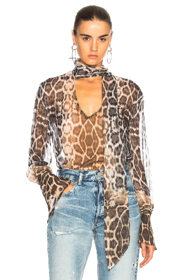 8f9e1f4bee6 Equipment Jacqueleen Tie-Neck Long-Sleeve Leopard-Print Chiffon Blouse In Leopard  Print