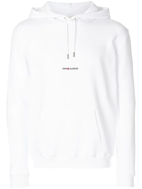 Saint Laurent Logo-print Cotton-loopback Hooded Sweatshirt In 9000 White