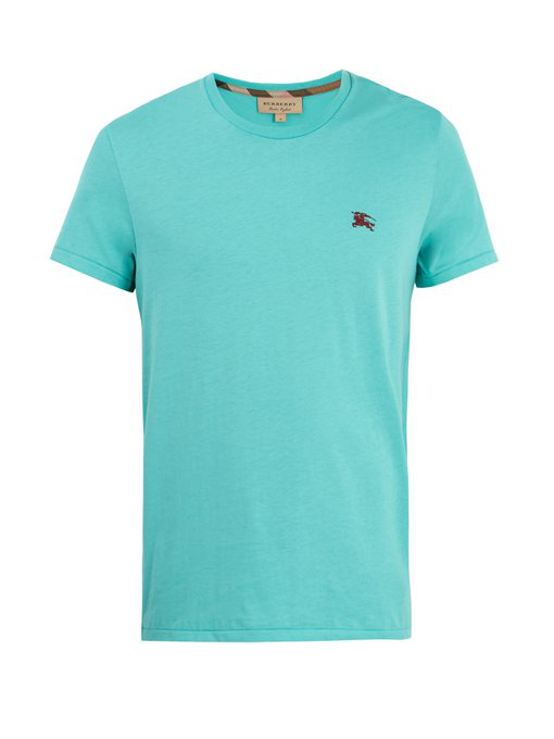 4f6877c1 Burberry Brit Tunworth Slim-Fit Cotton-Jersey T-Shirt In Sky Blue ...