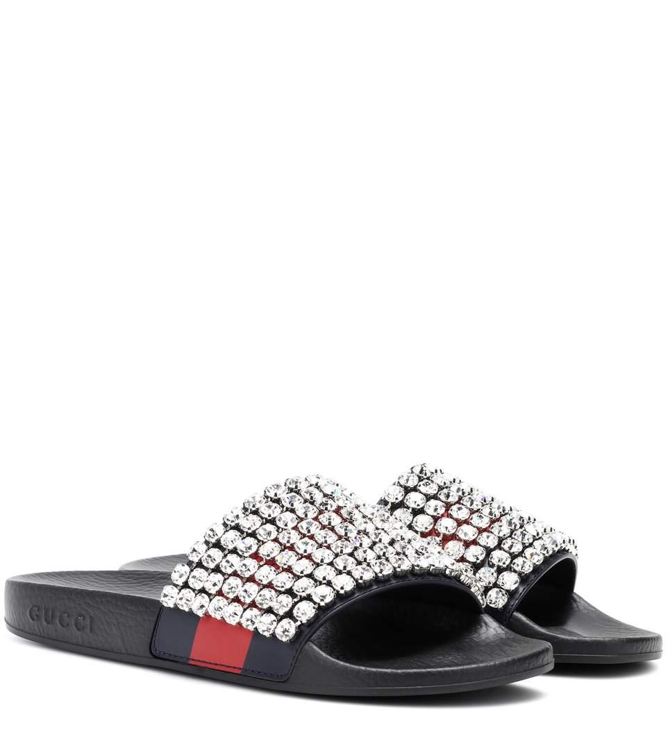 dac058cd1e7 Gucci Crystal-Embellished Leather And Rubber Slides In Black