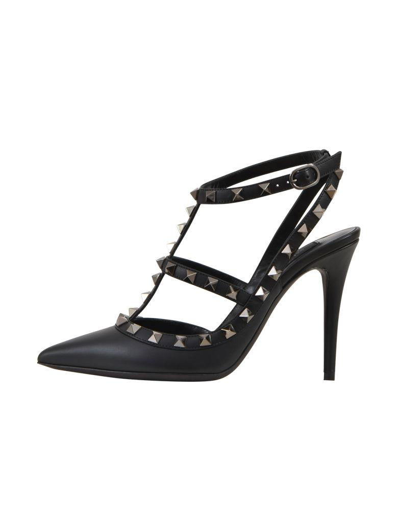 1dc8841c046 Valentino Lacquer Stud Rockstud Caged Pump 100Mm In Black