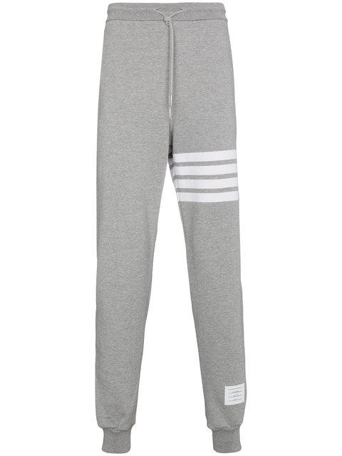 Thom Browne Classic Drawstring Sweatpants With Stripe Detail, Light Gray/optic White In Grey