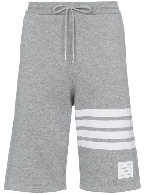 Thom Browne 4 Bar Striped Loopback Jersey Shorts In Grey In Light Grey 068