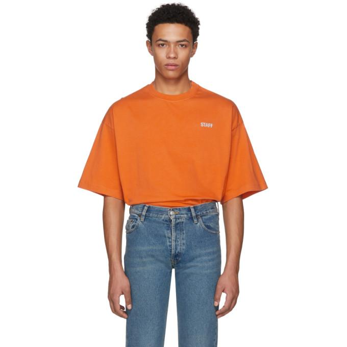 Vetements Staff Printed Cotton-jersey T-shirt In Orange