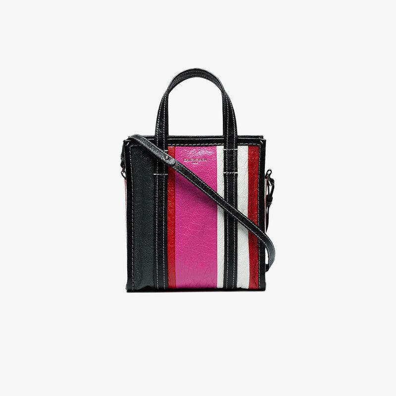 Balenciaga Bazar Small Striped Leather Shopper Tote Bag, Blue/multi In Pink/grey