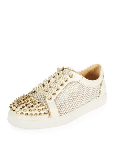 dcfff8f23e0e Christian Louboutin Ac Viera Spikes Flat Leather   Mesh Sneakers - White