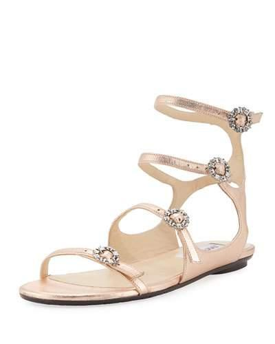 a8988f499ed Jimmy Choo Naia Flat Tea Rose Metallic Nappa Leather Sandals With Swarovski  Crystal Buckles