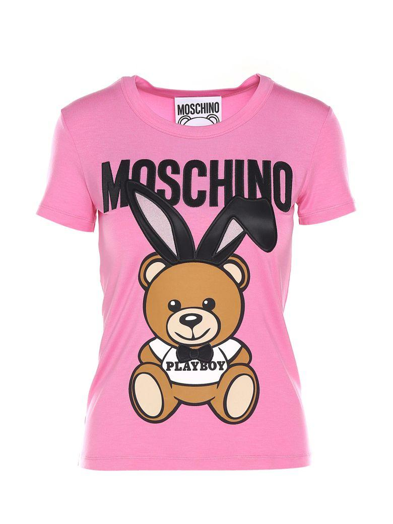 58c197f20c0 Moschino Teddy Playboy Embroidered Jersey T-Shirt In Pink   Purple ...
