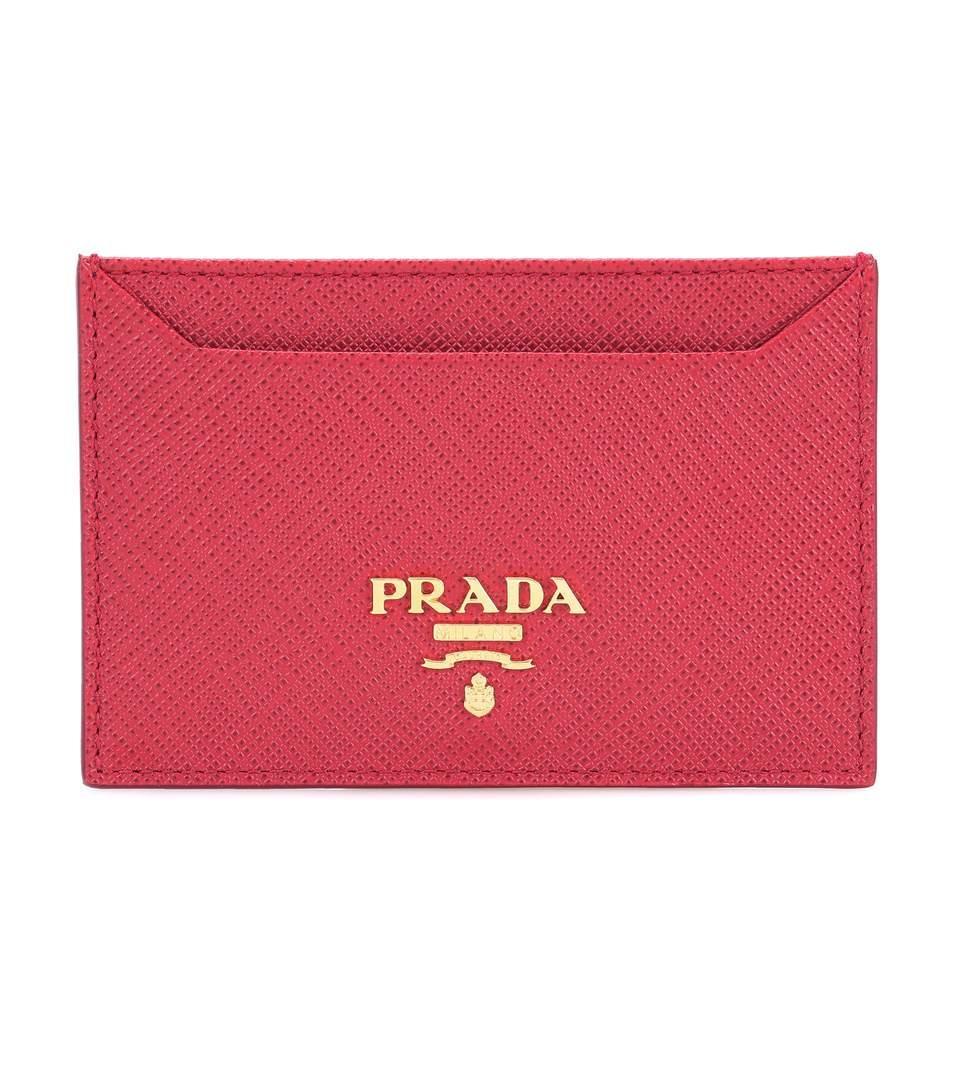 Prada Saffiano Leather Card Holder In Fuoco