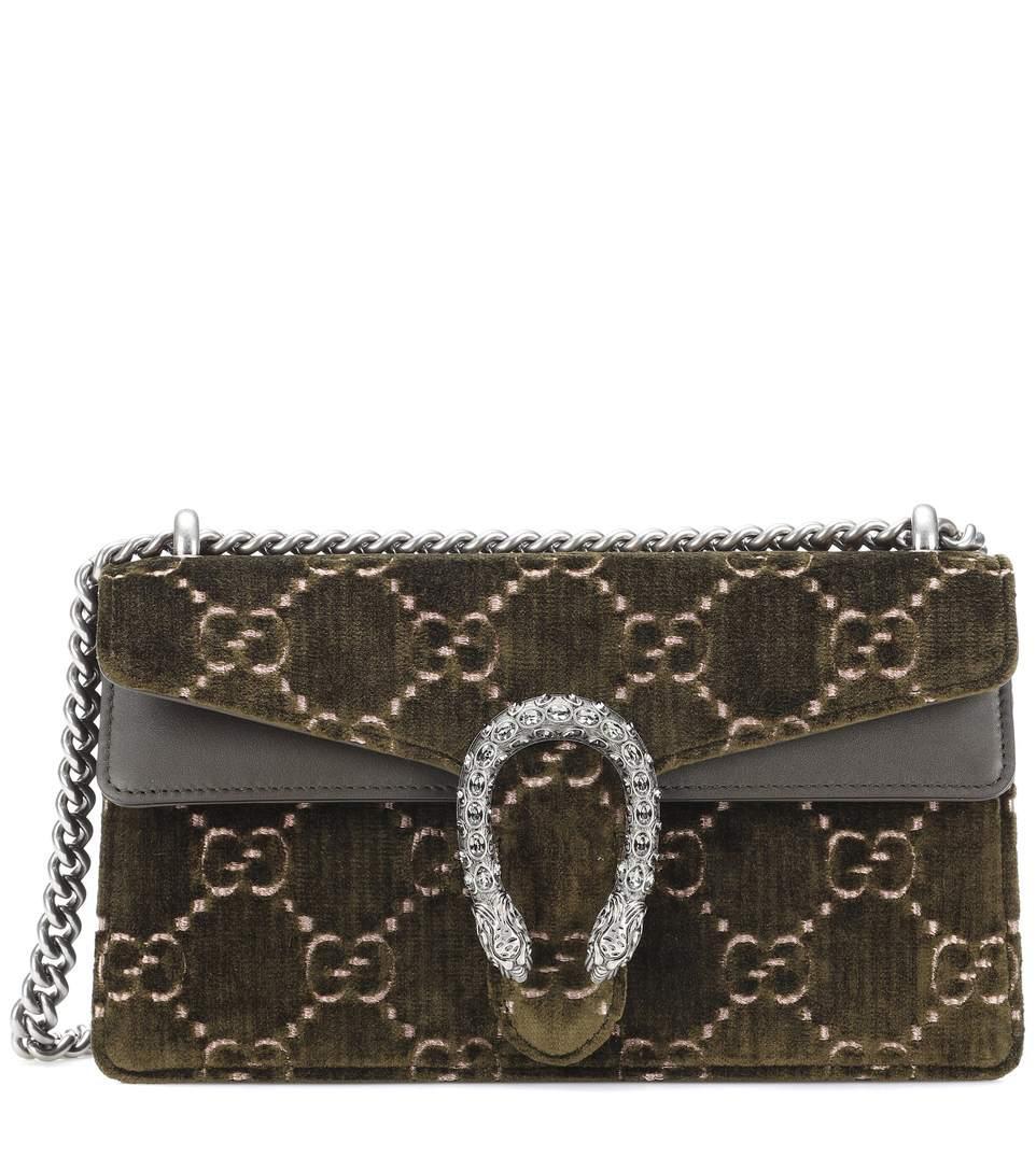 f99632dc2 Gucci Dionysus Leather-Trimmed Embossed Velvet Shoulder Bag In Army Green