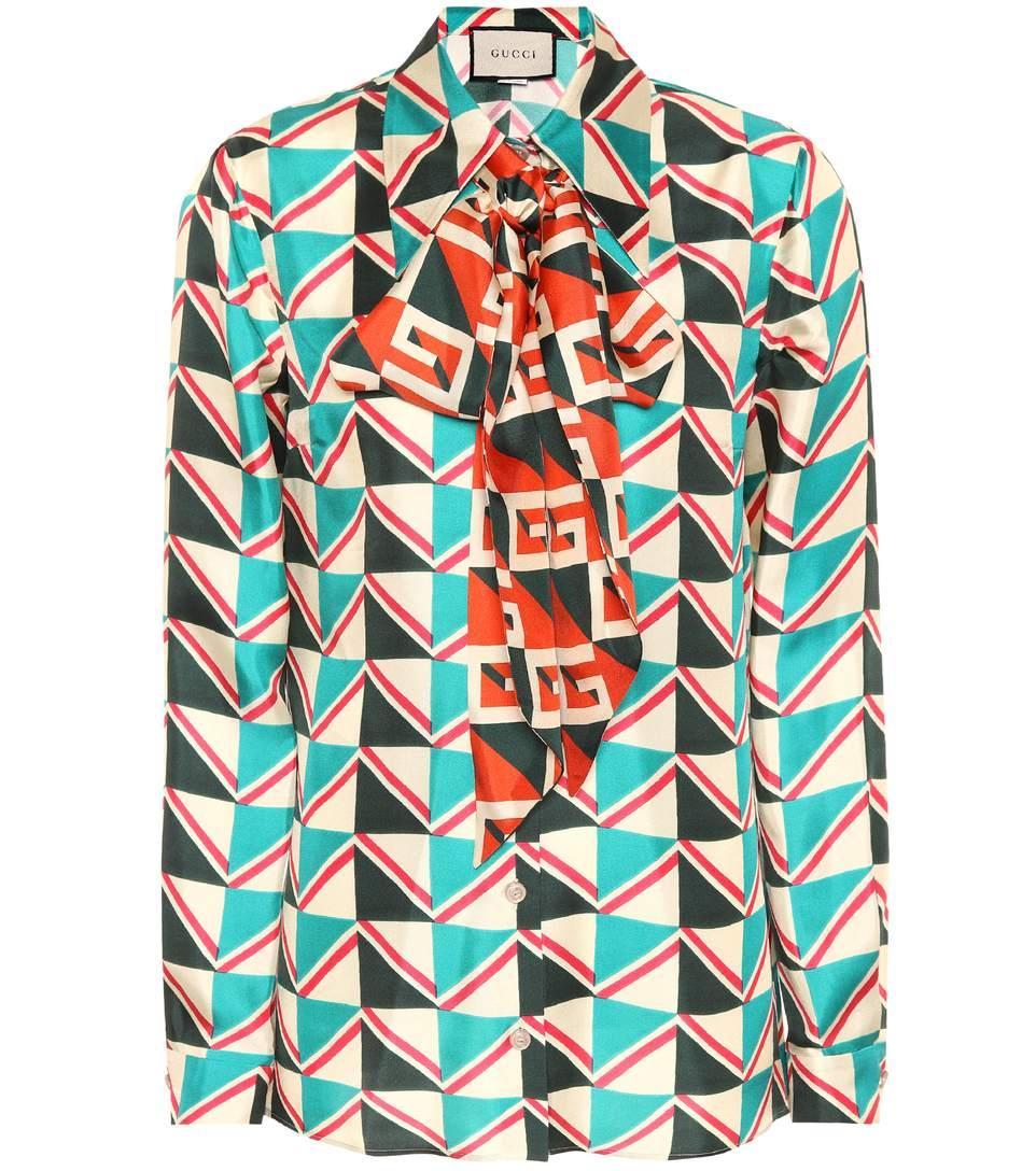 2842089a71c Gucci Green Multicolor Pussy Bow Printed Silk Twill Shirt