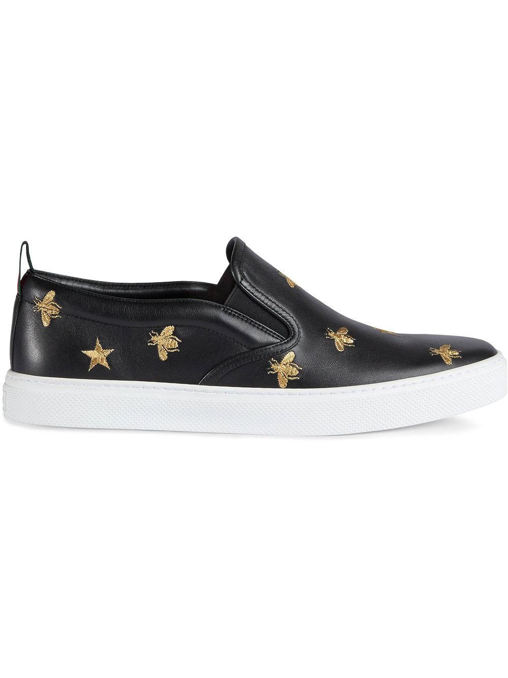4a9f63a4a8a Gucci Men s Dublin Bee   Star Embroidered Leather Slip-On Sneakers ...