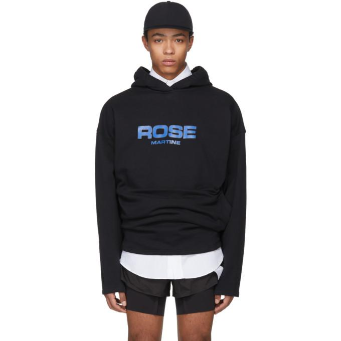 Martine Rose Collapsed Cotton-jersey Hooded Sweatshirt In Blk
