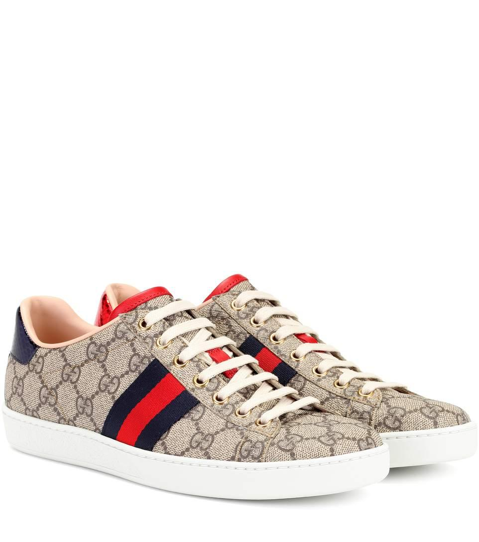 Gucci Ace Gg Supreme Metallic Watersnake-Trimmed Logo-Print Coated-Canvas Sneakers In Gray