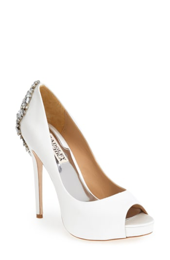 a2a57588bfe6 Badgley Mischka Kiara Embellished Peep-Toe Evening Pumps Women s Shoes In  White Satin