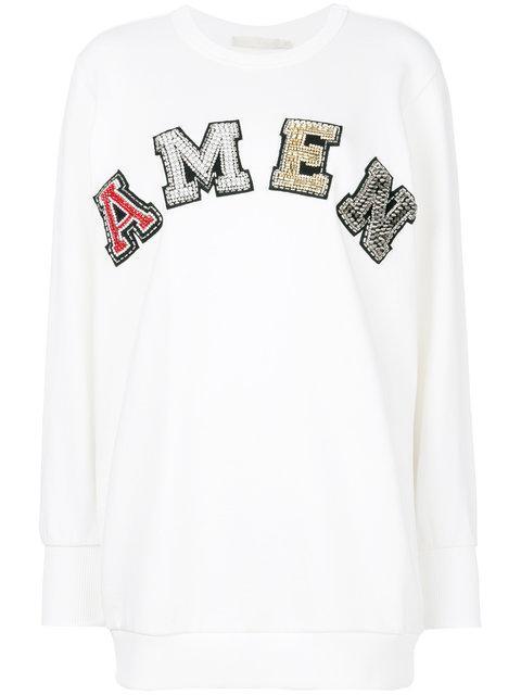 Amen Logo Cotton Sweatshirt In White