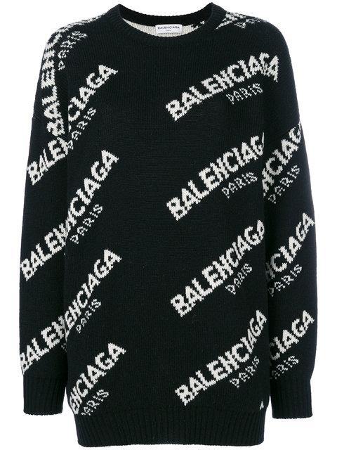 Balenciaga Women's Black And White Logo-intarsia Knitted Jumper