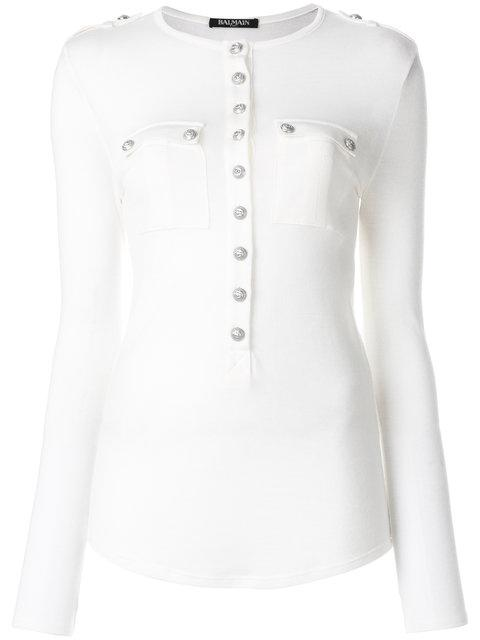 Balmain Button-down Long-sleeved Jersey Top In White