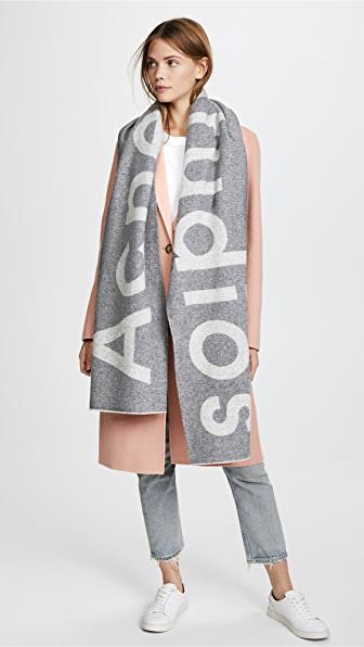 Acne Studios Toronty Logo-jacquard Wool-blend Scarf In Grey