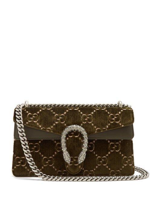 08811356825 Gucci Dionysus Leather-Trimmed Embossed Velvet Shoulder Bag In Army Green