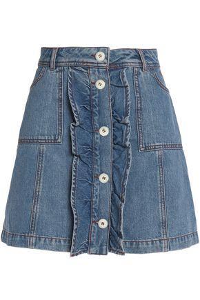 Ganni Ruffled Denim Mini Skirt In Mid Denim
