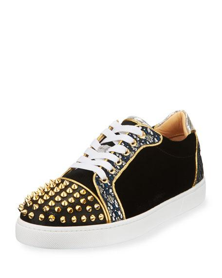 c75024a8b181 Christian Louboutin Viera Spike-Embellished Velvet Trainers In Black Multi