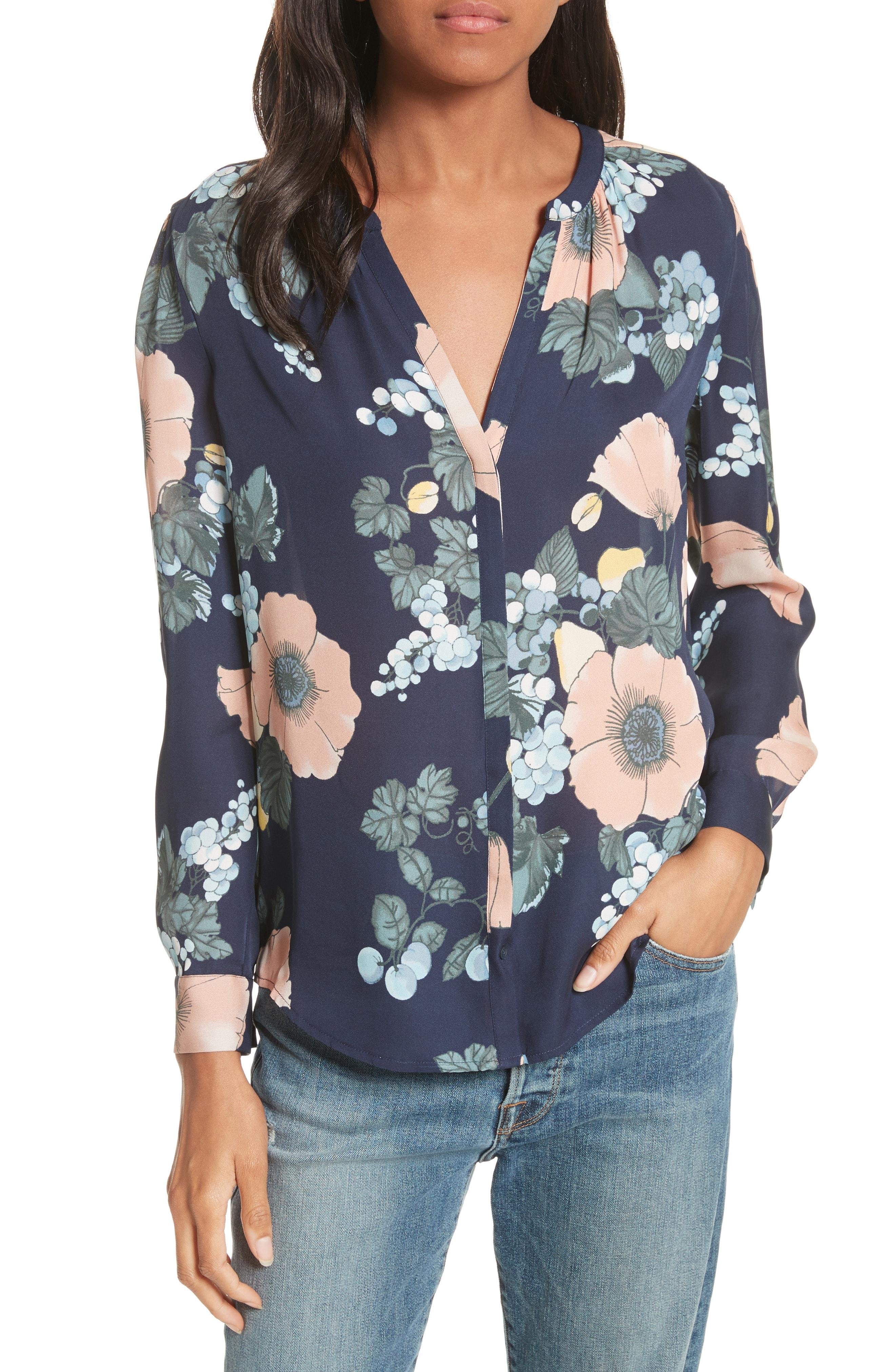 91e455974f1f9 Joie Amarant Floral-Print Long-Sleeve Silk Blouse In Pink