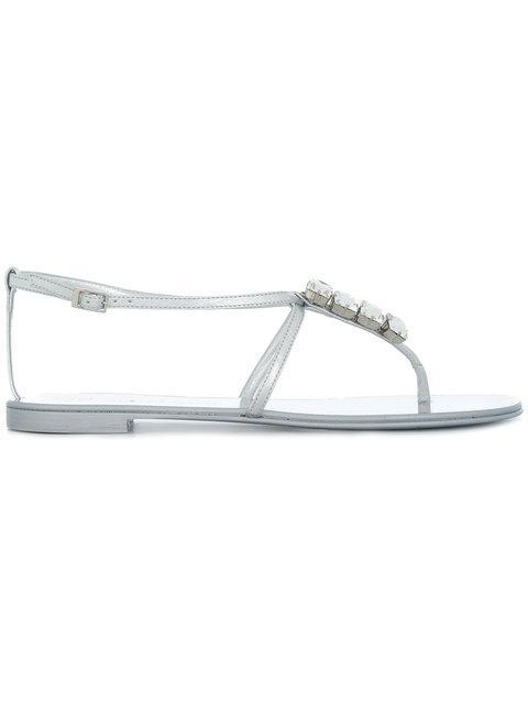 Giuseppe Zanotti Metallic Crystal Thong Sandal In Silver