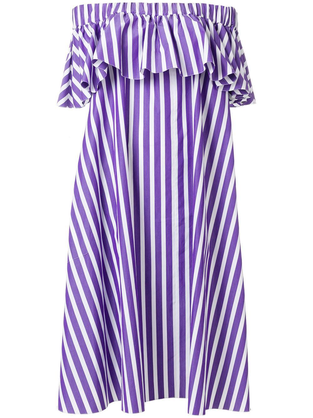d93f8d231085 Maison Rabih Kayrouz Purple Striped Off-Shoulder Dress In Pink ...