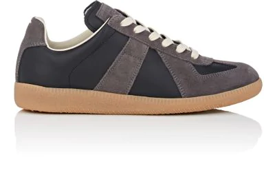 "Maison Margiela ""Replica"" Leather & Suede Sneakers - Black"