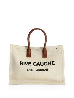 Saint Laurent Noe Rive Gauche Logo Linen Tote - Brown In Vintage Cognac