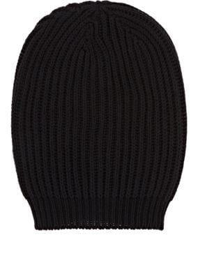 a2f6e65fac603 Rick Owens Rib-Knit Silk Beanie In Black
