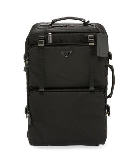 9ba60c532607 Prada Saffiano Leather-Trimmed Nylon Carry-On Suitcase - Black - One Siz