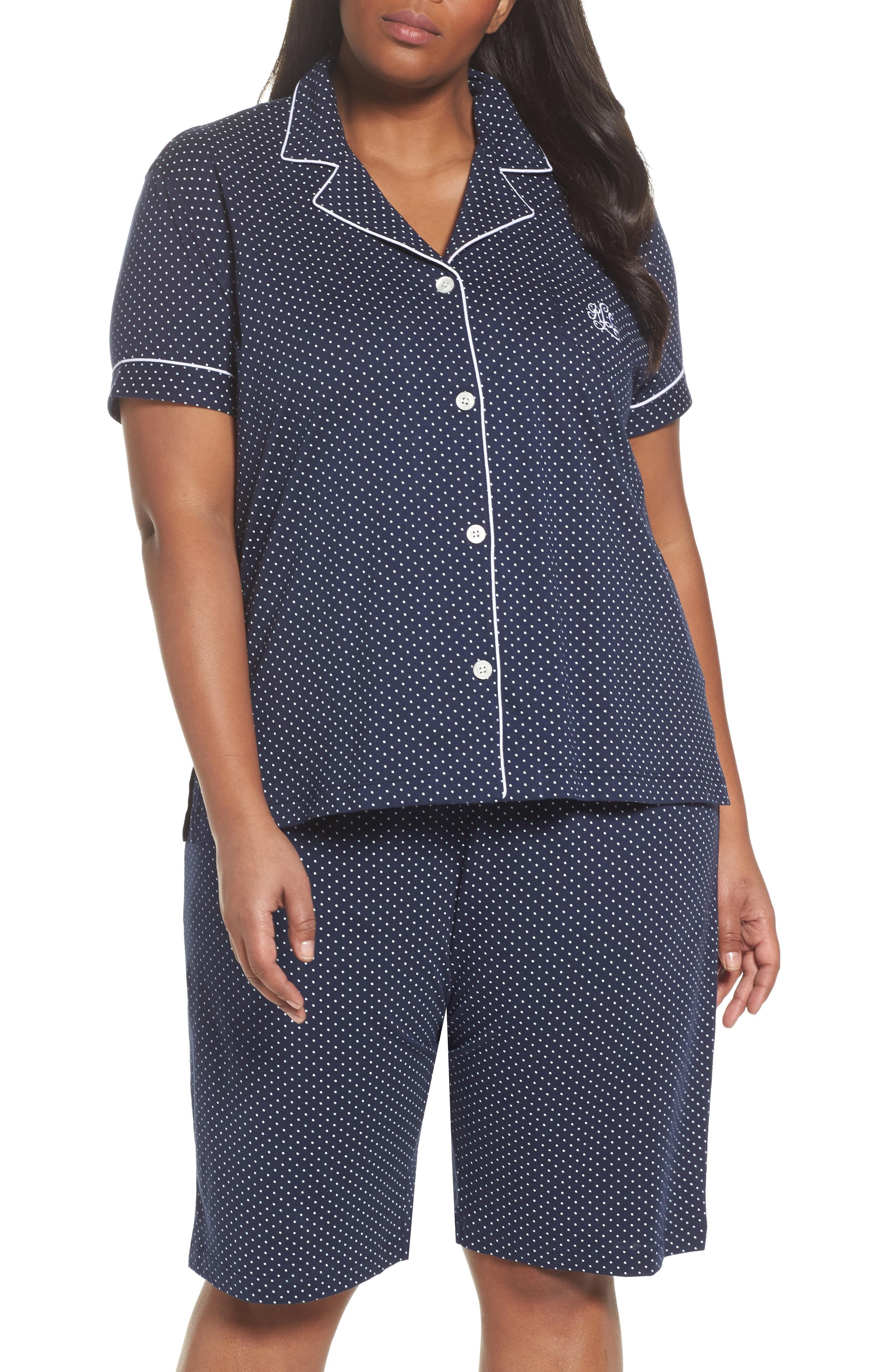 27a75898 Lauren Ralph Lauren Bermuda Short Sleeve Pajama Set In Navy Dot ...