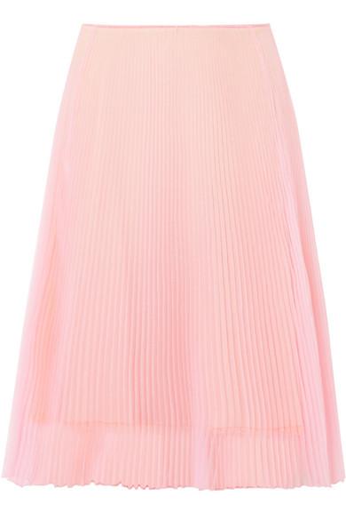 Prada Organza PlissÉ A-line Skirt In Pastel Pink